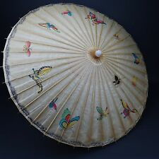 "Chinese Japanese Oriental Butterfly UMBRELLA PARASOL 34"" Dia.. RICE PAPER PRNT"