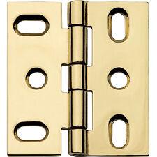 "Polished Brass, Flat-Tip Butt Hinge, 2"" L x 1-3/4"" W, with Swaged Leaf Design"