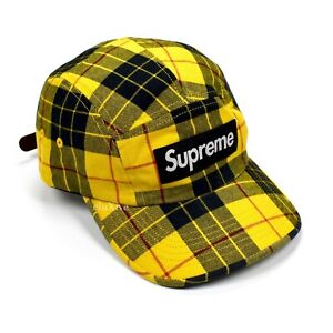 NWT Supreme Box Logo Washed Chino Twill Hat Camp Cap Yellow Tartan AUTHENTIC