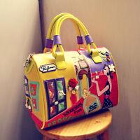 2017 women Leather Cartoon embroidery messenger travel handbag shoulder Bag