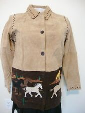 Wild Mustang Horse Suede Leather Jacket Womens M Quacker Factory