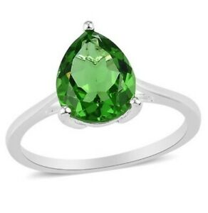 Helenite Solitaire (Pear 2.250 Cts) Ring in Sterling Silver Size U