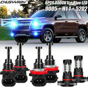 For Chevy Suburban Tahoe 2009-13 Fanless LED Headlight+Fog Light Bulbs Combo Kit