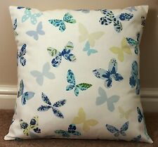 """BUTTERFLY CUSHION COVER BLUE/YELLOW 16 X 16"""" HANDMADE"""