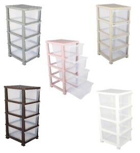 4 Clear Drawer Large Plastic Storage Tower