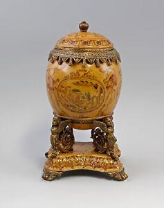 9937113-dss Table Centerpiece Egg Lid Box Ceramics Bronze H28cm
