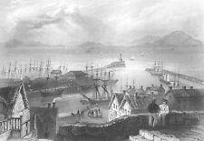 Cumbria MARYPORT HARBOR SAILBOAT SHIPS GALLEON FRIGATE, 1840 Art Print Engraving