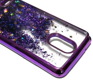 For LG Stylo 3 / Stylo 3 Plus - Purple Chrome Glitter Stars Liquid Case Cover