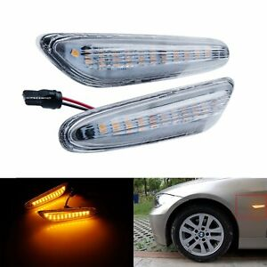 Fit BMW 3 Series E90 E91 05-13 Clear Lens LED Side Indicator Repeater Light Lamp