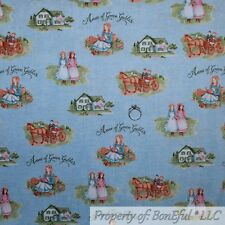 BonEful FABRIC FQ Cotton Quilt Blue Anne of Green Gables Antique Country Home US