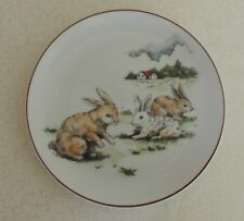 Vintage Child's Plate Rabbits & Farmhouse Made in Japan Decorative Collectible