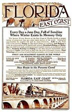 Florida East Coast Railway 1914 Poster  12 x 18