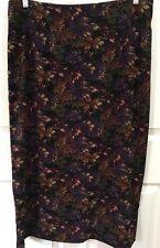 Briggs New York Skirt 18 Long Floral Poly Blend Back Split Straight Poly Blend