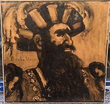 Tableau Ancien Huile Portrait De Barbe Bleu Léon Fauché (1868-1950)