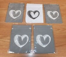 Lot of 10 Cloth Wedding Party Favor / Jewelry Gift Bags - Grey & White **NEW**