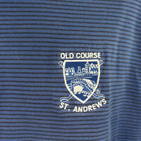 Old Course St. Andrews  Mens L Short Sleeve Golf Shirt, Blue w/ Black Stripe EUC