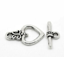 Heart Toggle Clasps Antique Silver Metal Alloy 14x18mm  15 Pcs Findings Crafts