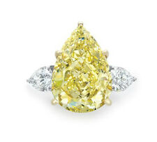 Certified 7ct Fancy Yellow Pear Cut Trilogy Women's Cocktail Ring 14K White Gold