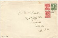 FALKLAND IS 1931 ENVELOPE TO USA FRANKED BY WHALE&PENGUINS HALFPENNY & 1d(2)