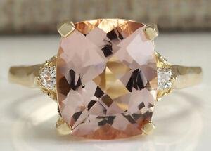 4.91 Carat Natural Morganite 14K Solid Yellow Gold Luxury Diamond Ring