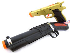 2x Toy Guns Military Detective Gold 9MM Pistol Cap Gun & Toy Sawed-off Shotgun