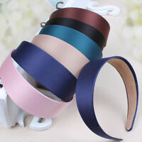 Women 's Wide Hair Band Plastic Satin Ladies Girls Headwear Headband
