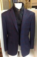 David August Jacket Multi Tones Of Blue With Red Detachable Collar 42 Short
