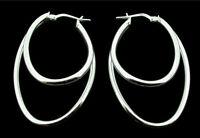 925 Sterling Silver 40mm Double Hoop Polished Creole Earrings For Pierced Ears