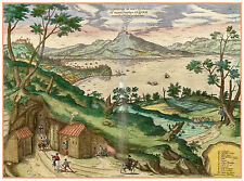 Bay of Naples Vesuvius Campania Italy bird's-eye view map Hogenberg ca.1598