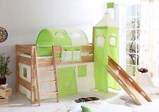 Lit mezzanine avec toboggan et tour FELIX Hêtre naturel tissus Beige-Vert
