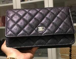 Authentic CHANEL WOC Wallet on Chain CC Logo Black Crossbody Bag