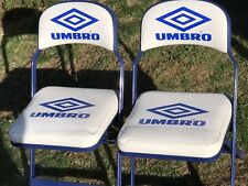 """Vintage UMBRO Cushioned Metal Folding Chairs 17"""" x 15"""" Set Of 2"""