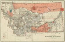 Map of Montana Territory Great Plains c1887 24x36