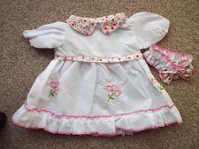 Muñecas Blanco Vestido Con floral trim & Que Combina Pantalones para 38.1cm