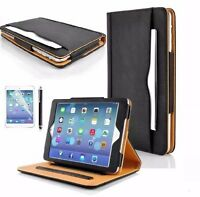 Genuine BLACK & TAN Stand Smart Magnetic Leather Case Cover For Apple iPad MINI