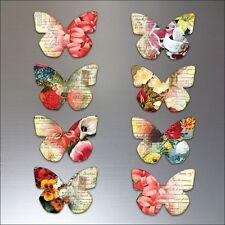 Butterflies fridge magnets vintage butterfly retro set of 8 - No.2