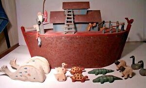 Handmade Wooden Noah's Ark Signed Barry Grosscup Folk Art 1995