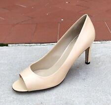 Max Mara Women's Shoes Heels Pumps Size 10 (40) Ivory Peep Toe Leather $495 NEW