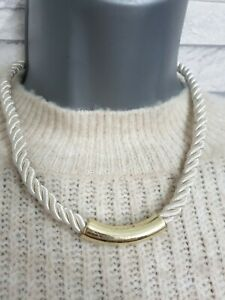 Cream Twisted Rope Necklace Gold Tone Metal Tube Pendant Costume Jewellery