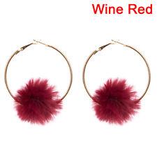 Fluffy Ball Drop Earrings Boho Dangle Big Round Circle Earrings Women Ladies 9y Red