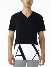 Armani Exchange HEM PRINT Mens Designer T-SHIRT Premium BLACK Oversized Fit $45