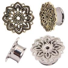 1 Paar 5-20mm Flesh Tunnel Plug Silber Bronze Mandala Blume Ohr Piercing Stahl