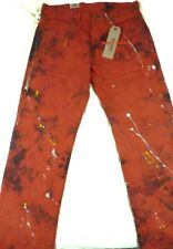 $70 Mens LEVIS Jeans 569 LOOSE STRAIGHT 31 x 30 RED PAINT Pollock splatter heavy