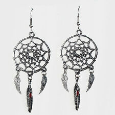 bijoux ethnique amérindien Boucles d'oreilles attrape rêves plumes d'aigle rouge