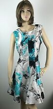 Samuel Dong Floral Sleeveless Dress Turquoise Multi Color Size Large New