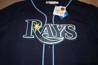 TAMPA BAY RAYS MAJESTIC COOL BASE STITCHED BUTTON DOWN JERSEY MENS XL NWT