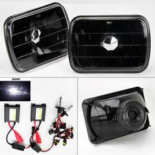 """7X6"""" 6K HID Xenon H4 Black Glass Headlight Conversion Pair RH LH Ford"""
