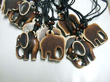 12pcs Brown Ethnic Tribal Faux Yak Bone Animal Elephant Charm Necklace Pendants