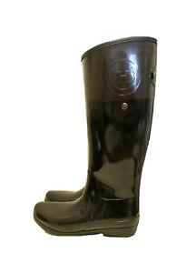 Hunter Women's Regent Carlyle Rain Wellington Boots Black Brown H Logo Womens 9
