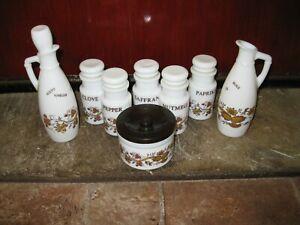 Italian Milk Glass Spice jars, Oil & Vinegar, Pickles, Cerve S.p.A. 2 stag logo,
